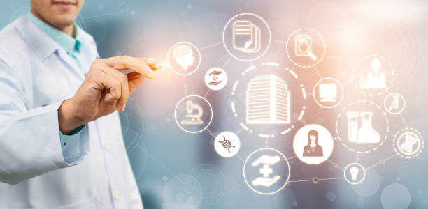 Medical Healthcare Research and Development Concept. Der Arzt im Krankenhauslabor mit der Ikone der wissenschaftlichen Gesundheitsforschung ist ein Symbol für die Innovation der Medizintechnik, die Entdeckung von Medikamenten und die Daten des Gesundheits – Foto