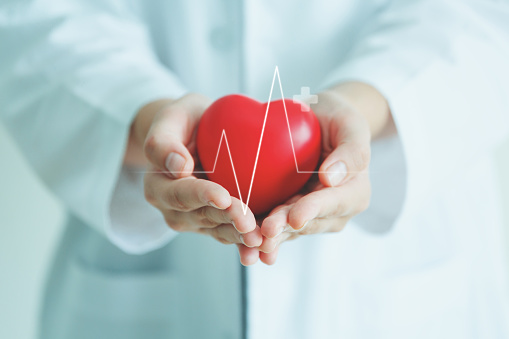 Female medical doctor holding red heart shape in hand with graphic of heart beat, cardiology and insurance concept