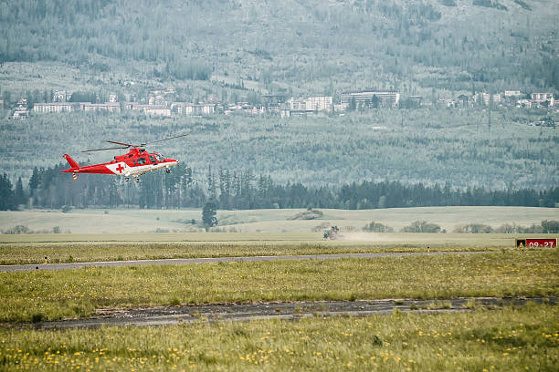 Medical helicopter landing stock photo