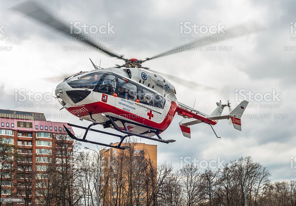 Medical helicopter. stock photo