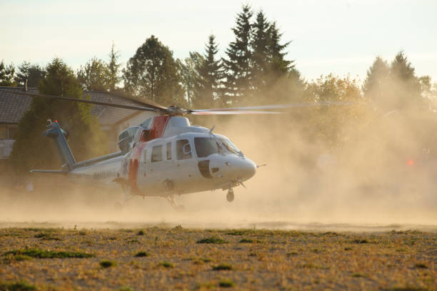 Medical Helicopter Taking Off stock photo