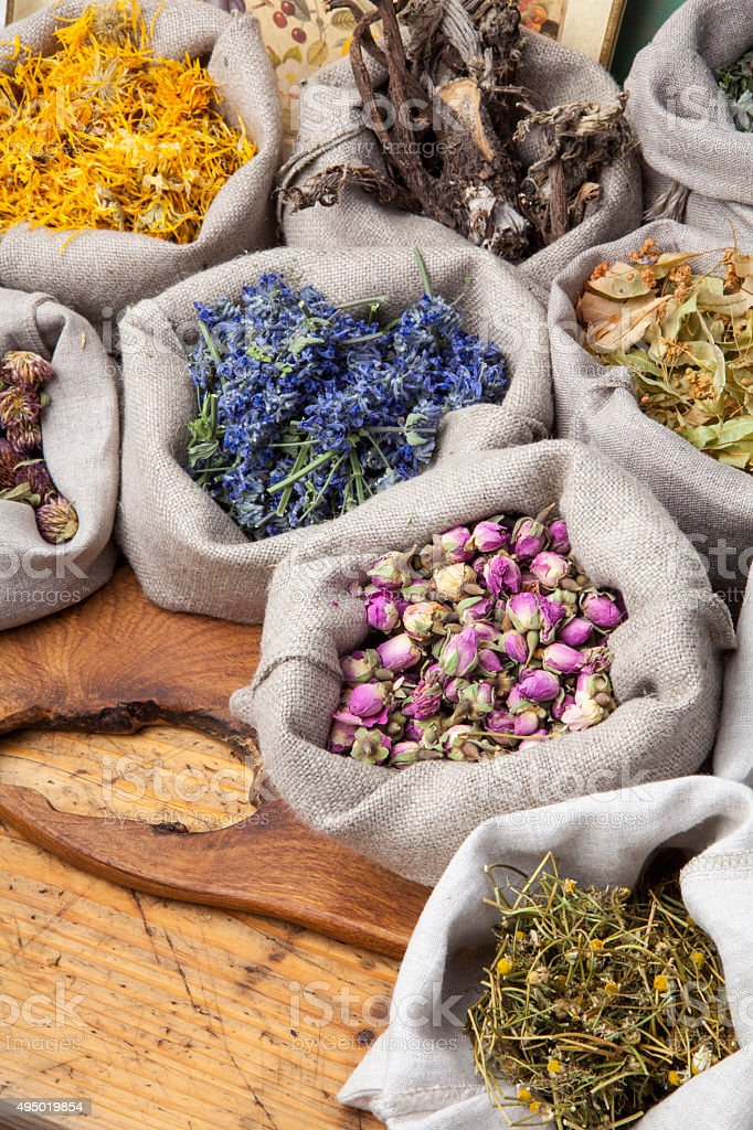 Medical herbs stock photo
