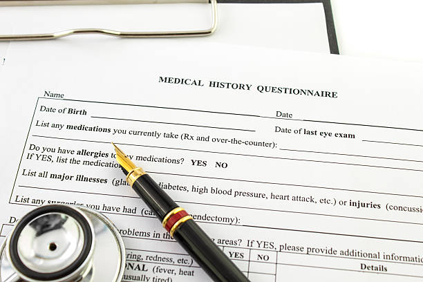 medical history questionnaire clipboard stock photo istock