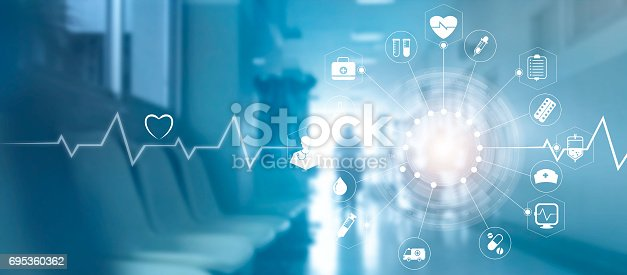 845455852 istock photo Medical icon network connection with modern virtual screen interface on hospital background, medicine technology network concept 695360362