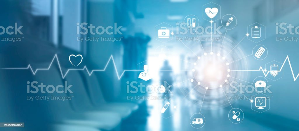 Medical icon network connection with modern virtual screen interface on hospital background, medicine technology network concept stock photo