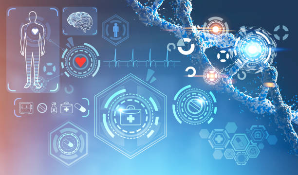 medical icons and dna chain interface - hud graphical user interface stock pictures, royalty-free photos & images