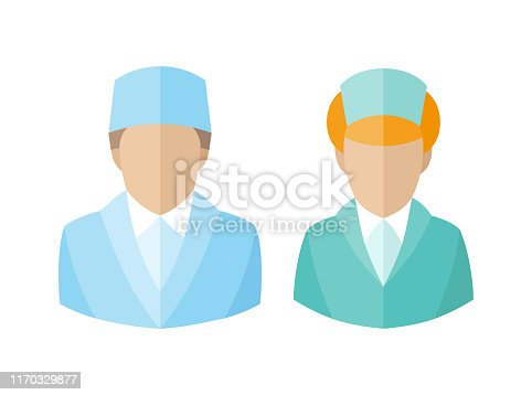 istock Medical icons. Doctor and nurse avatars. vector illustration 1170329877