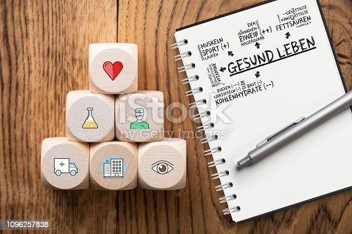 917079152istockphoto medical icons on cubes with a note pad with a plan for healthy living (in German) 1096257838