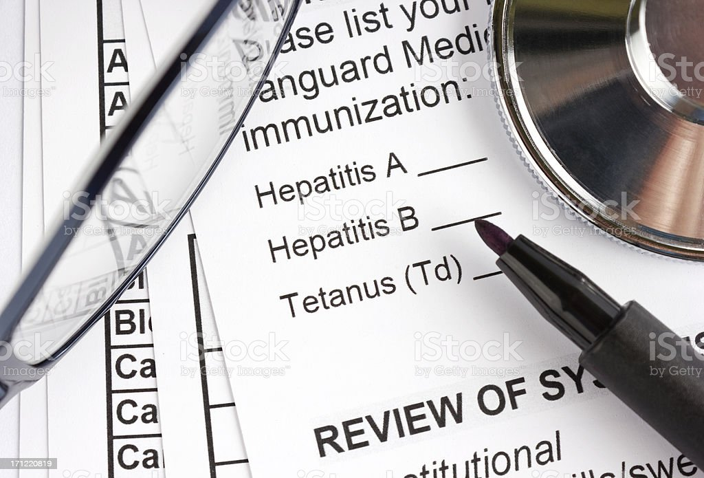 Medical information form about hepatitis stock photo