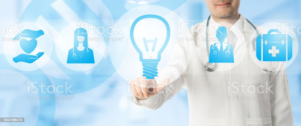 Medical Innovation Concept - Doctor with Lamp Icon stock photo