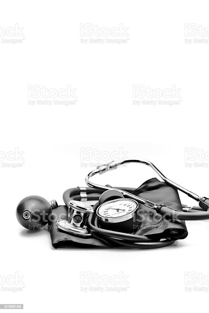 medical instruments blood pressure and stethoscope close up royalty-free stock photo