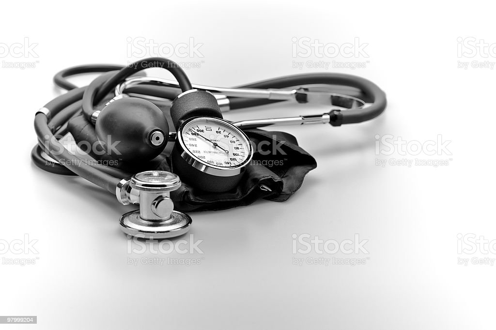 Medical instruments blood pressure and stethoscope royalty-free stock photo