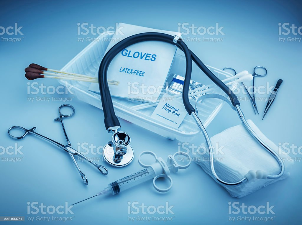 Medical instruments stock photo