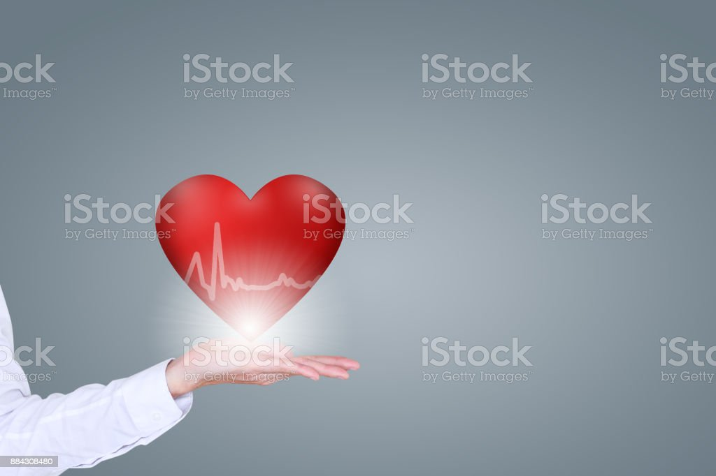 Medical insurance, health, medicine, and charity, features a 3d heart and electrocardiogram stock photo