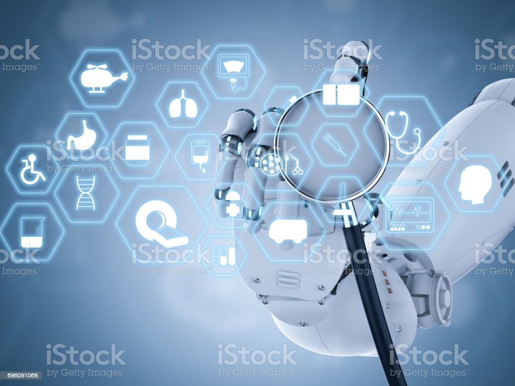 medical interface with robot hand holding stethoscope stock photo