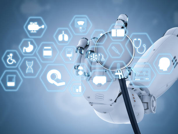 medical interface with robot hand holding stethoscope - foto stock
