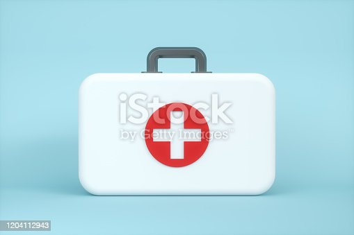 istock Medical kit and emergency medical equipment with blue background,3d rendering. 1204112943