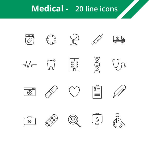 medical line icons - icone foto e immagini stock
