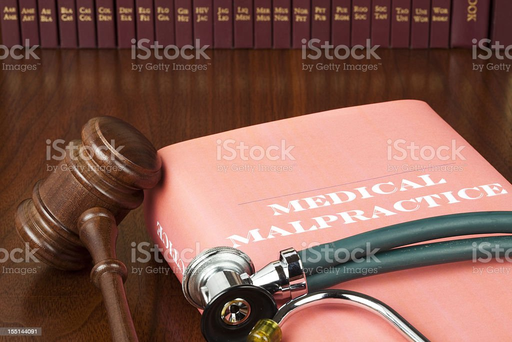 Medical malpractice book stock photo