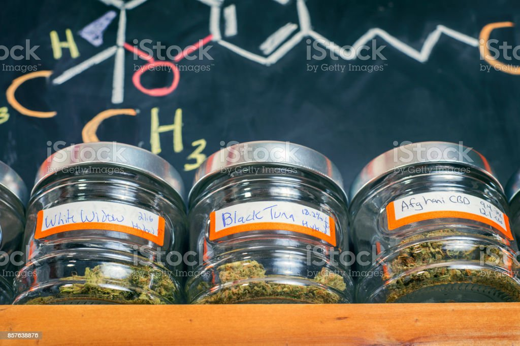 Medical marijuana jars - cannabis dispensary concept royalty-free stock photo
