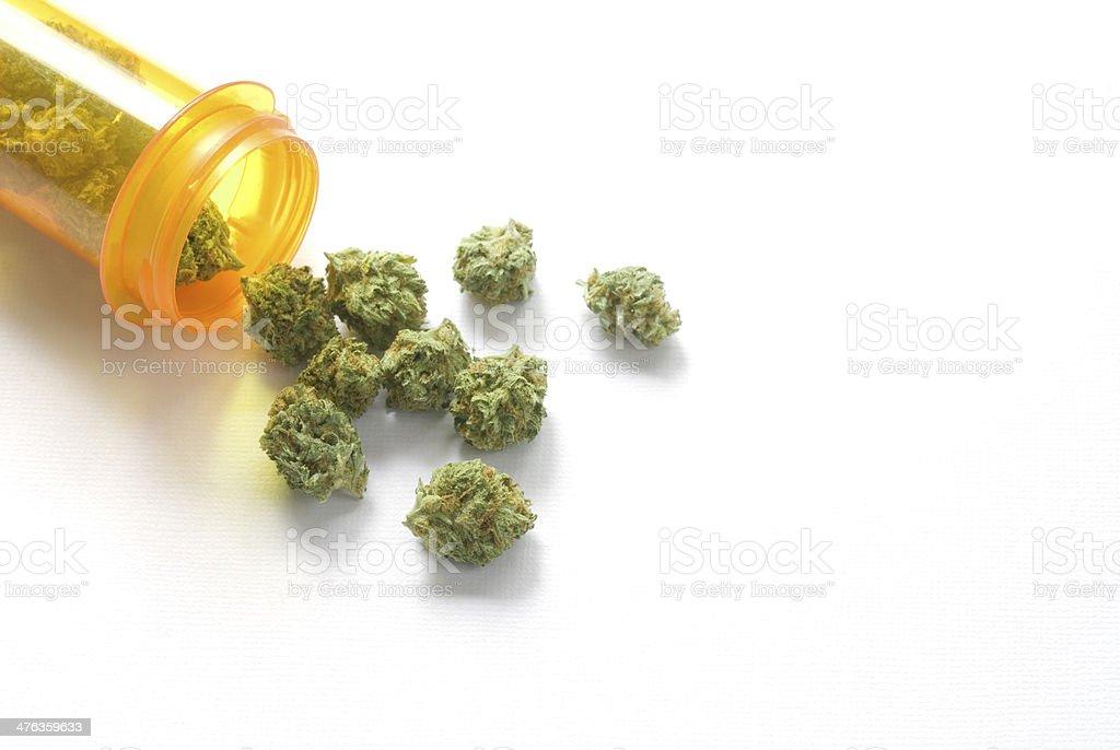 medical marijuana with prescription bottle stock photo