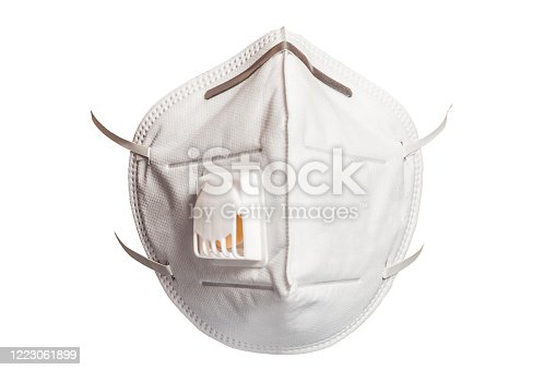 Medical mask 3M with a valve that protects against viruses in a coronavirus pandemic isolated on a white background 2021