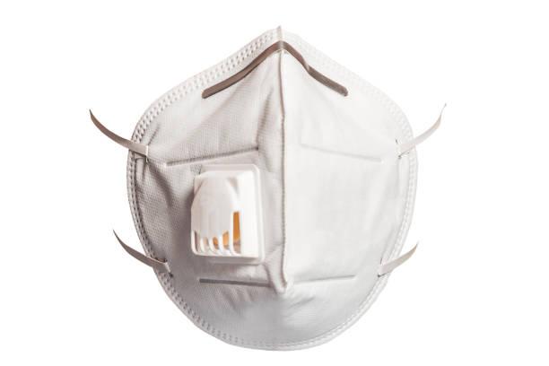 medizinische maske 3m mit einem ventil, das vor viren in einer coronavirus-pandemie auf weißem hintergrund isoliert schützt. frontansicht. - luftventil stock-fotos und bilder