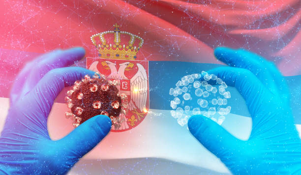 Medical molecular conceptwith backgroung of waving national flag of Serbia. Pandemic 3D illustration. Novel coronavirus concept resposible for asian flu outbreak and coronaviruses influenza concept on background with flag of Serbia serbia stock pictures, royalty-free photos & images