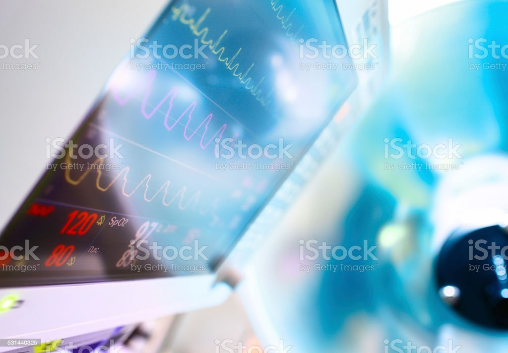 medical Monitor and surgical lamp stock photo