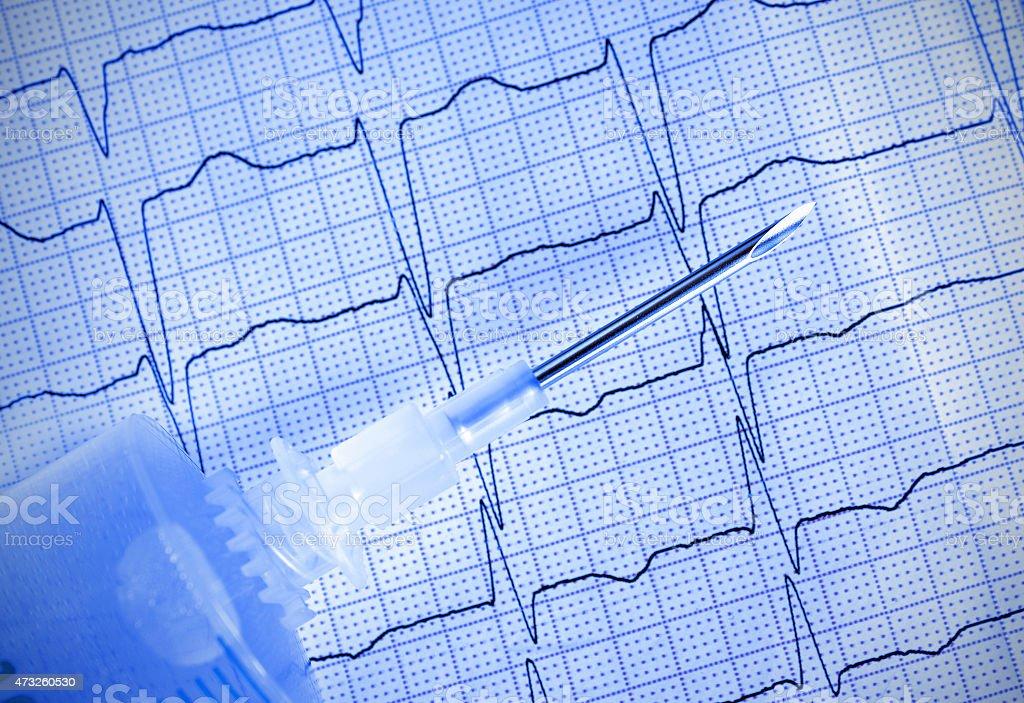 Medical needle with syringe on ECG stock photo