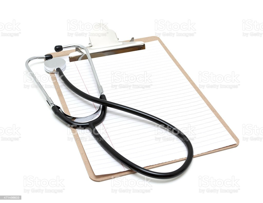 Medical Notes and Stethoscope isolated on white background royalty-free stock photo
