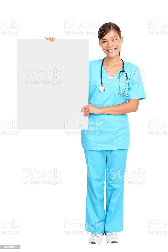 Medical nurse showing blank sign royalty-free stock photo