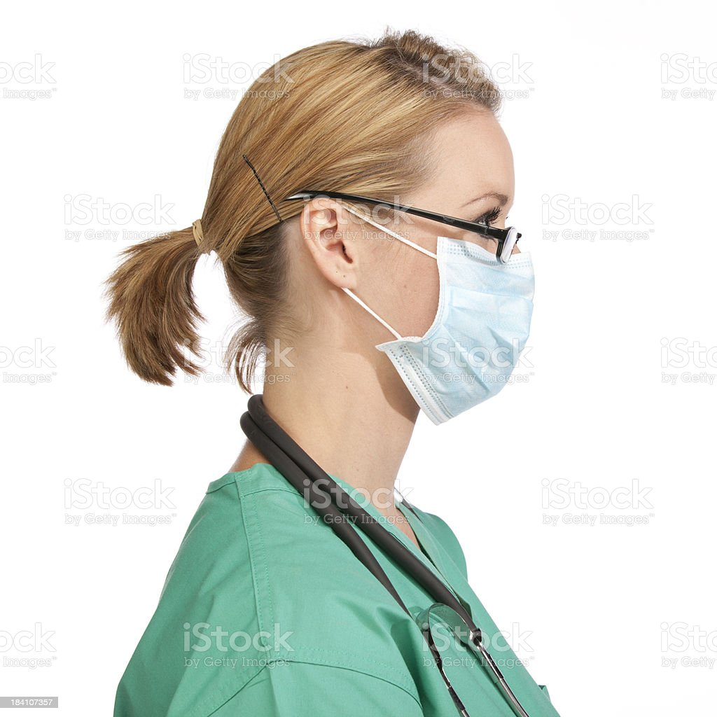Stock Photo - Medical A View Nurse Face With Download Side Mask