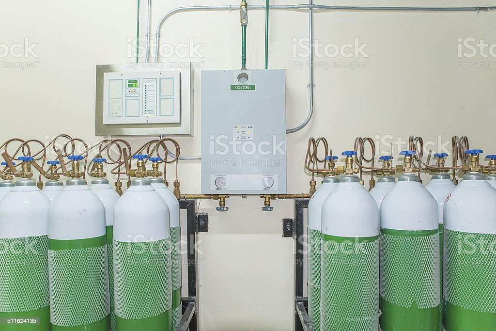 Medical Oxygen Tank in Hospital control room stock photo