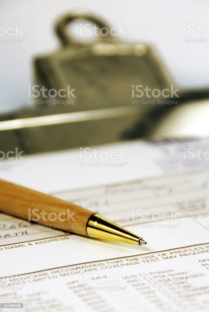 Medical Papers on a Clipboard royalty-free stock photo