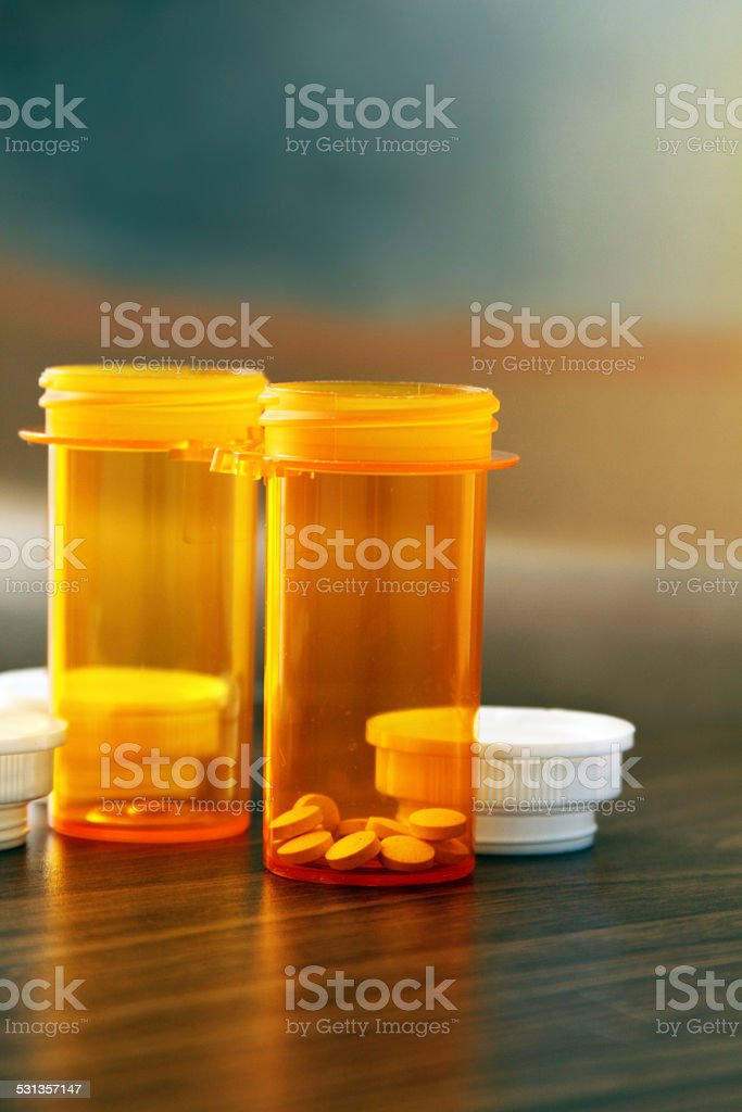 Medical pill bottles - vertical - Royalty-free 2015 Stock Photo