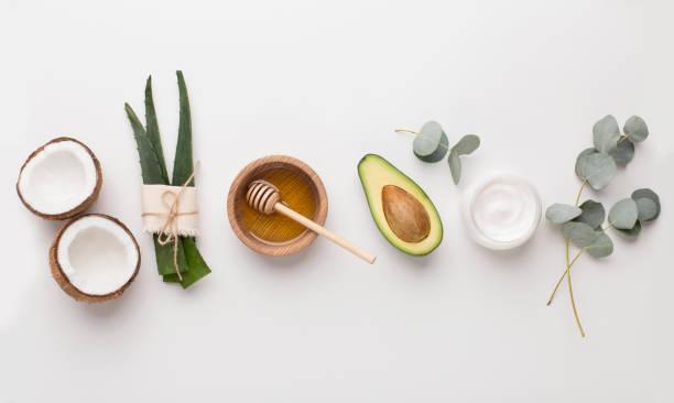 用於替代美容的醫學植物:蘆薈、蜂蜜、椰子 - 材料 個照片及圖片檔