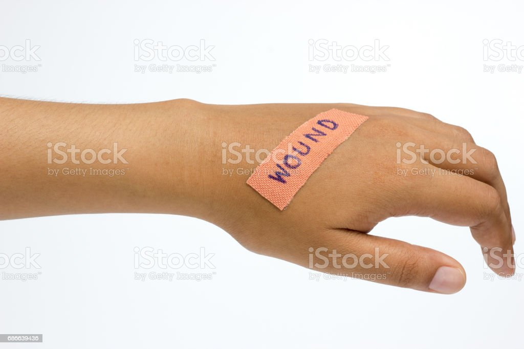 Medical plaster on the wound in women hand on white background. royalty-free stock photo