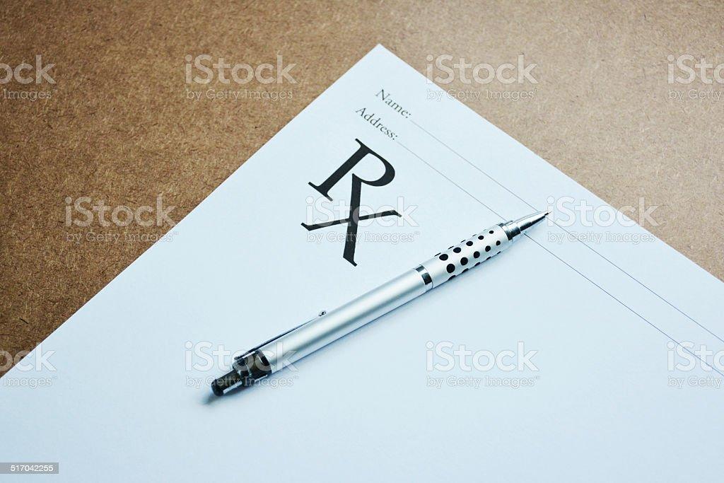 Medical prescription and pen. stock photo