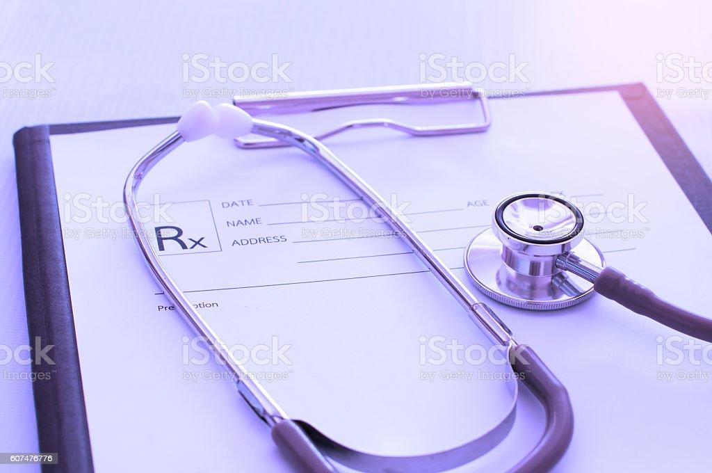 medical prescription and stethoscope stock photo