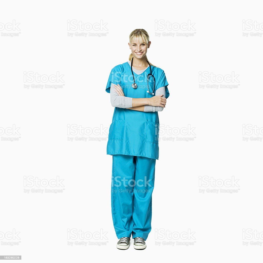 Medical Professional Wearing Scrubs and a Stethoscope - Isolated royalty-free stock photo