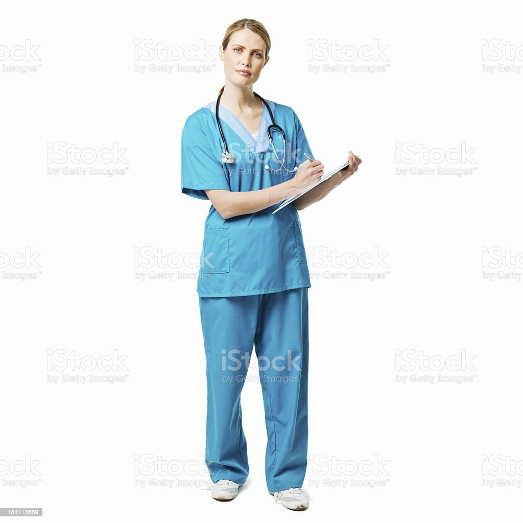 Medical Professional With a Clipboard - Isolated royalty-free stock photo