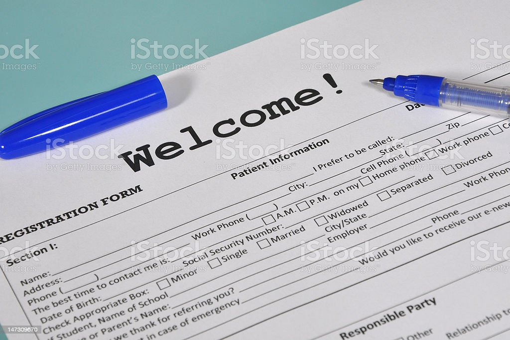 Patient information and personal registration form
