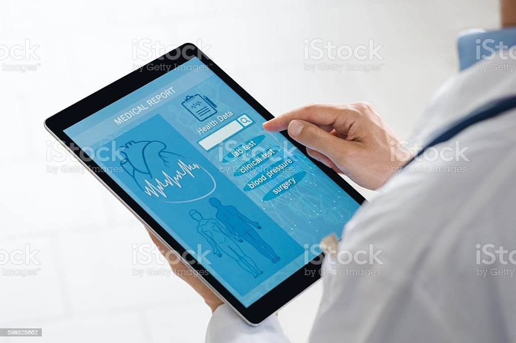 Medical report on tablet stock photo