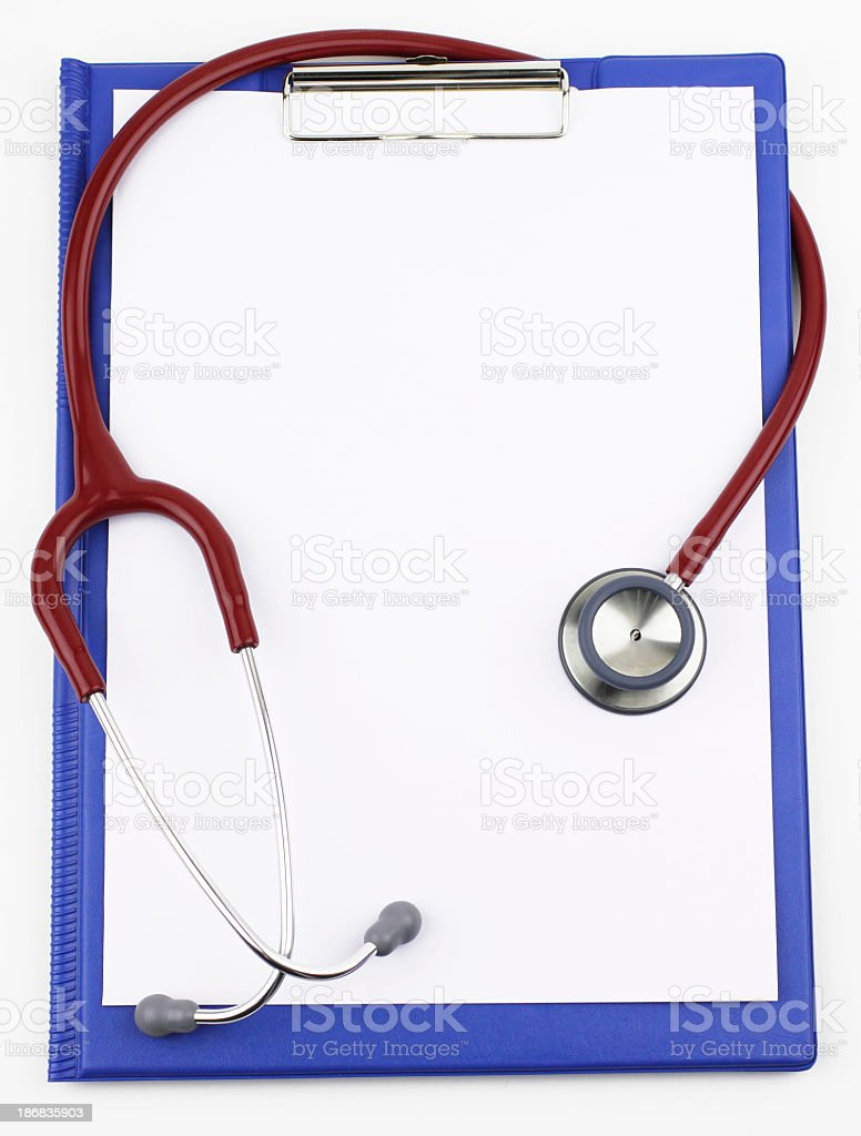 Medical report with a stethoscope stock photo