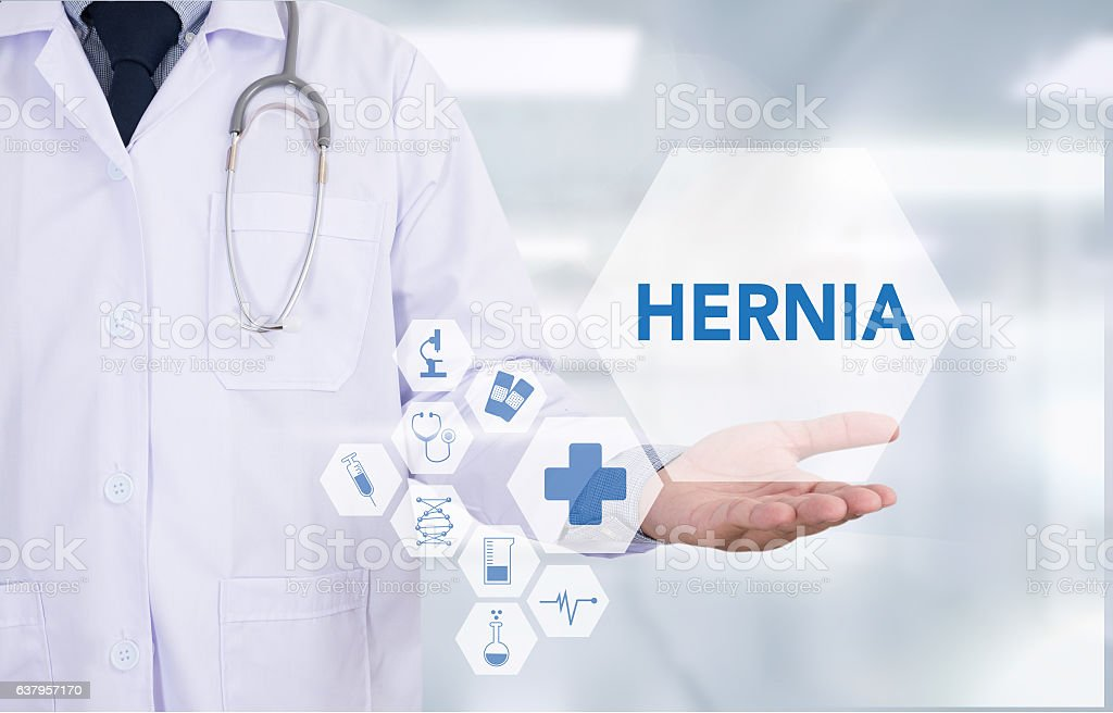 HERNIA Medical Report with Composition of Medicaments - Pills, I stock photo