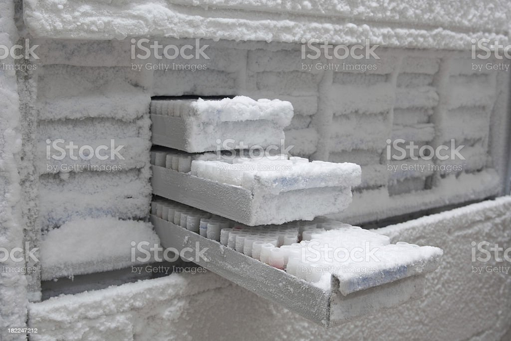 Medical samples in -80° C freezer royalty-free stock photo