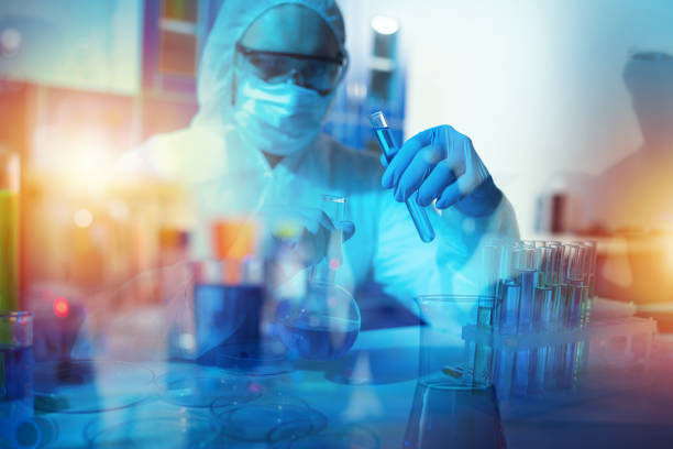 Medical science laboratory. Concept of virus and bacteria research stock photo