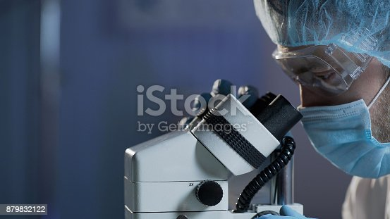 istock Medical scientist conducting research of blood sample for hematologic diseases 879832122