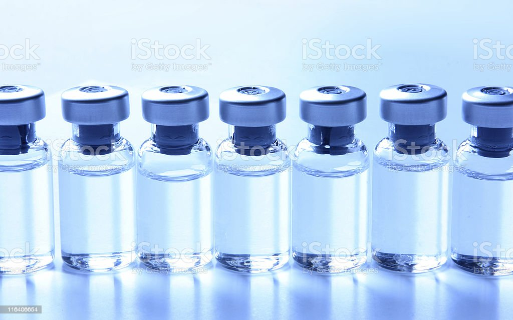 Medical Series - Vials with Medication in a row stock photo